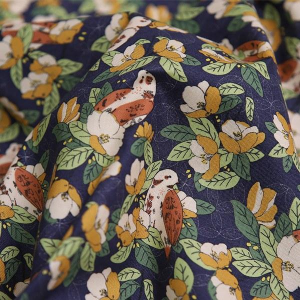 綿20数平織り - 椿バードロイヤルネイビー