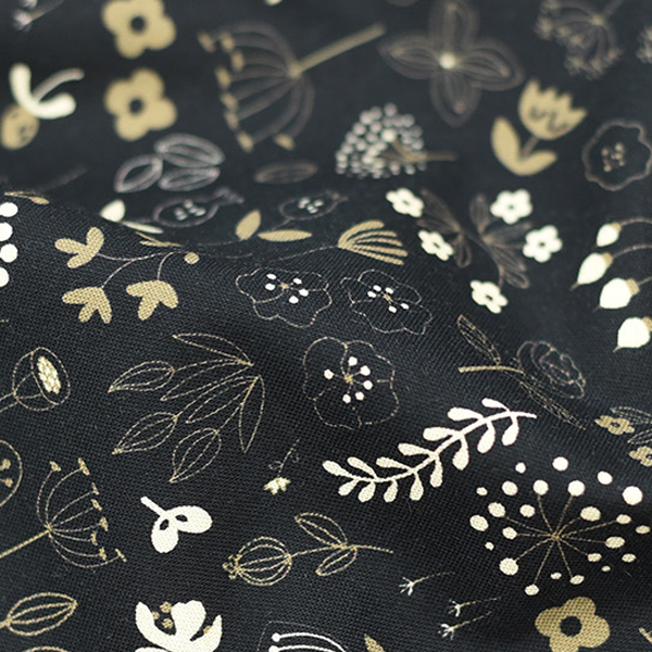 綿20数平織り - アーバンガーデンブラック